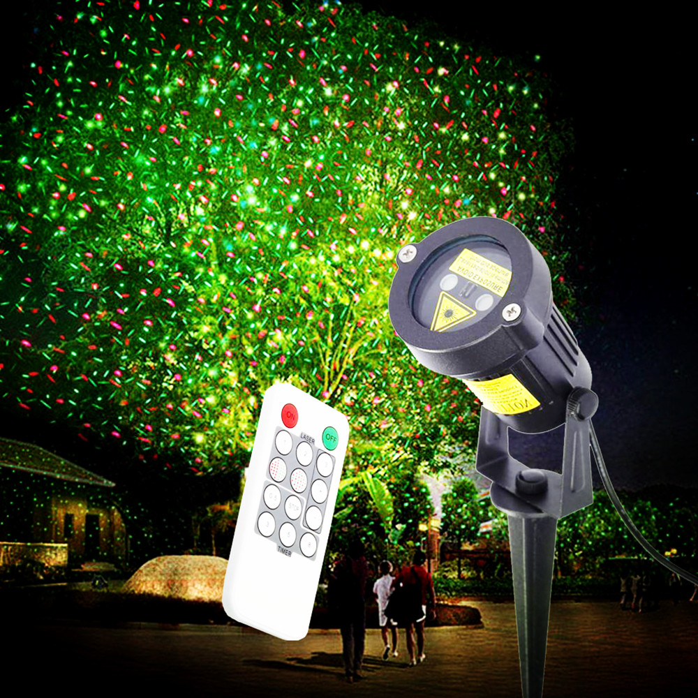 Outdoor Laser Projector Light Red Green Waterproof Outdoor Landscape Garden Lamp Waterproof Decor Laser Xmas Stage Light