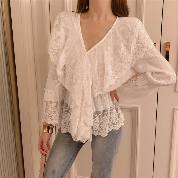Women V-neck Hollow-out Lace White Blouses Shirts Female Full Flare Sleeve Chic Tops Blouses For Girls DX3503