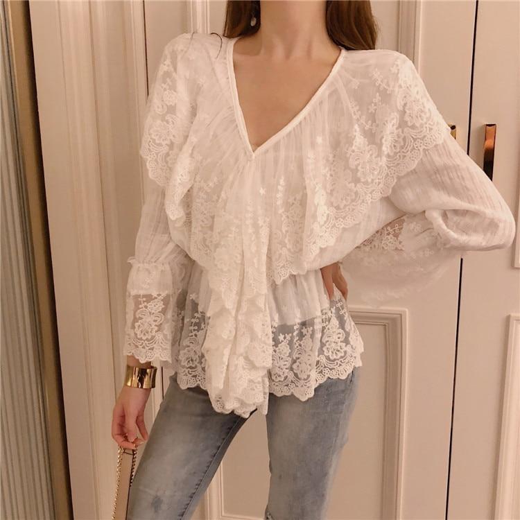 0f7cb6cbc Mujeres v-cuello hueco-hacia fuera de encaje blanco blusas Camisas Mujer  Full Flare manga elegante Tops blusas para niñas DX3503