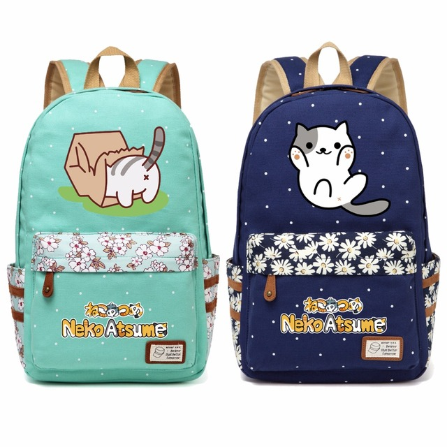 85731638bc38 WISHOT Neko Atsume Canvas bag Flowers wave point backpack travel Shoulder  Bag lovely cute cat Kitty