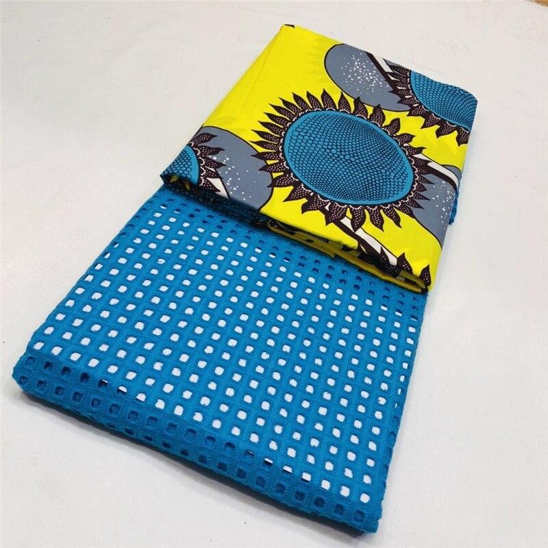 Beau tissu de dentelle africaine 2018 coton suisse sec java cire tissu haute qualité dentelle suisse matériel pour robe 3 + 2.5 yard XM03