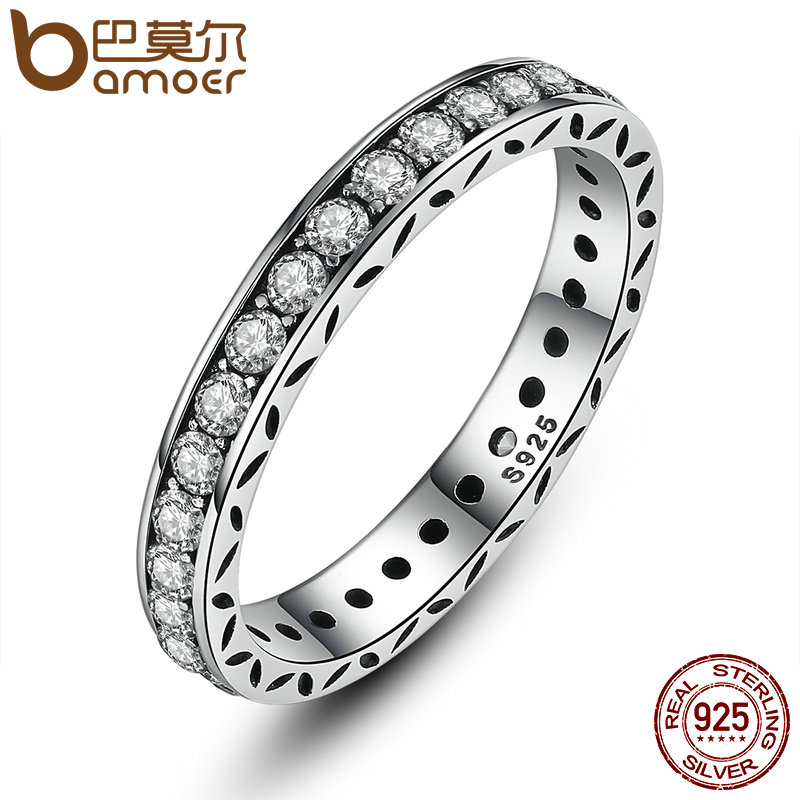 BAMOER Original 100% 925 Sterling Silver Finger Ring Authentic Luxury Jewelry For Women Wedding PA7119 authentic luxury
