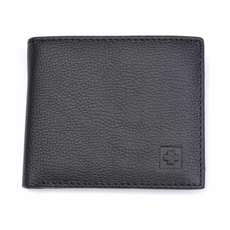 100% portfel z prawdziwej skóry mężczyzn nowe torebki marki dla mężczyzn czarny brązowy składany portfel RFID blokowanie portfele z pudełko MRF7