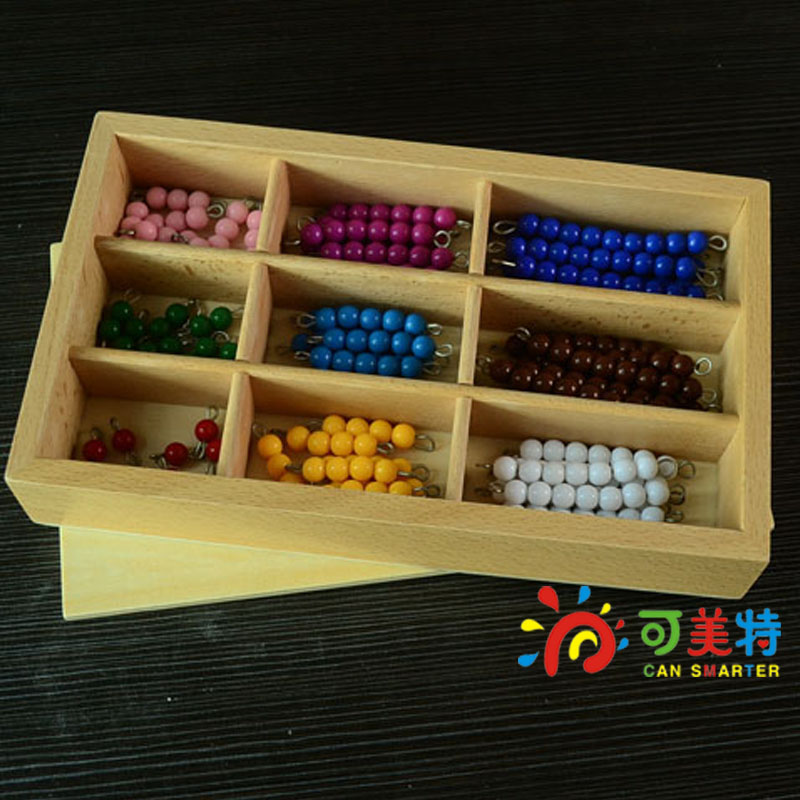 Montessori Education Colourful Beads Beech Wood Box Math toys Early educational toys Free Shipping Can Smarter montessori education 0 10 numbers odevity pedestal beech wood math toys early educational toys free shipping