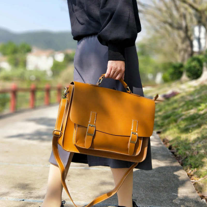 Vintage Women Satchels Bag Horizontal Literary Girls' School Handbag Big A4 Docoment Bags Dress OL Fashion Casual Briefcase