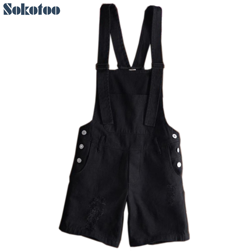 Sokotoo Men's black white suspenders bib overalls Slim hole ripped denim   jeans   Knee length shorts