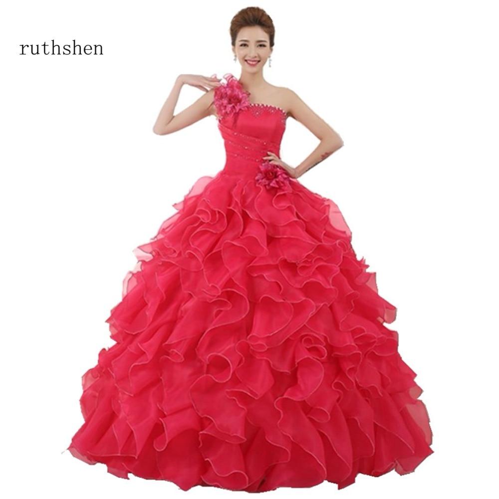 ruthshen Cheap Quinceanera Dresses One Shoulder Ruffle 2018 Flowers Long Sweet 16 Masquerade Debutante Prom Ball Gowns 2018