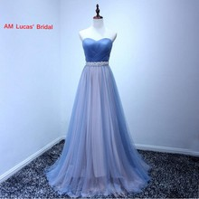 Real Pictures A Line Evening Dresses 2017 Pleat Tulle Formal Evening Gowns For Wedding Party Prom Dresses