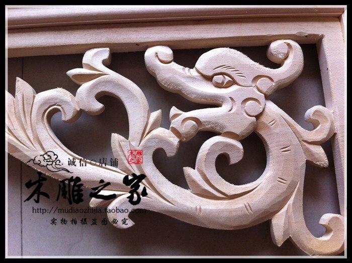 Dongyang sculpture sur bois dragon sculpté bois garniture angle pistolet décalque feuille allée toit plafond bois linteau faisceau - 3