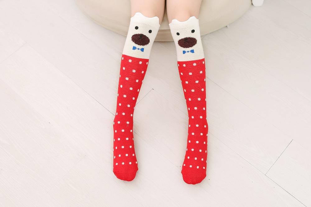 2017 Nowa Wiosna Jesień Dzieci Skarpetki Bawełniane Drukowanie 3D Kot Moda Cartoon Niedźwiedź Taniec Skarpetki Maluchy Dziewczynek Knee Socks 10