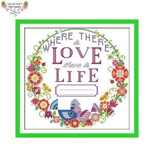 Your Gift C361 14CT 11CT Counted and Stamped Home Decor Love Life Needlework Needlepoint Embroidery DIY Cross Stitch kits