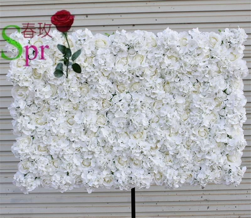 SPR Spedizione Gratuita 10 pz / lotto AVORIO Artificiale ortensia rosa fiore muro di nozze sfondo prato / pilastro fiore strada piombo decorazione