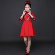 Red Chinese Style Qipao Costume Traditional Kids Cheongsam Girl Children Guzheng New Year Dress Princess Dresses Free Shipping