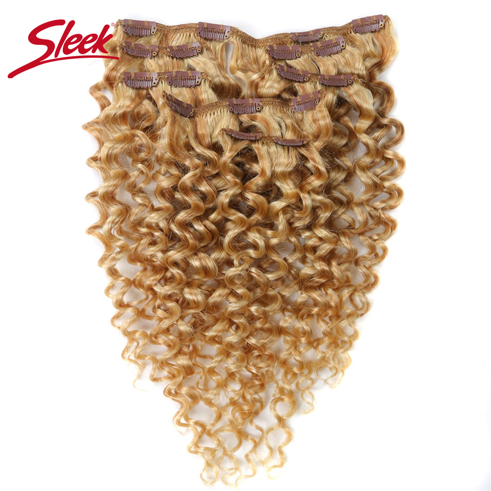 Sleek Hair 7Pcs Clip In Human Hair Extension Brazilian Jerry Curly Honey Blonde #P27/613 Color Remy Hair Extension Clip