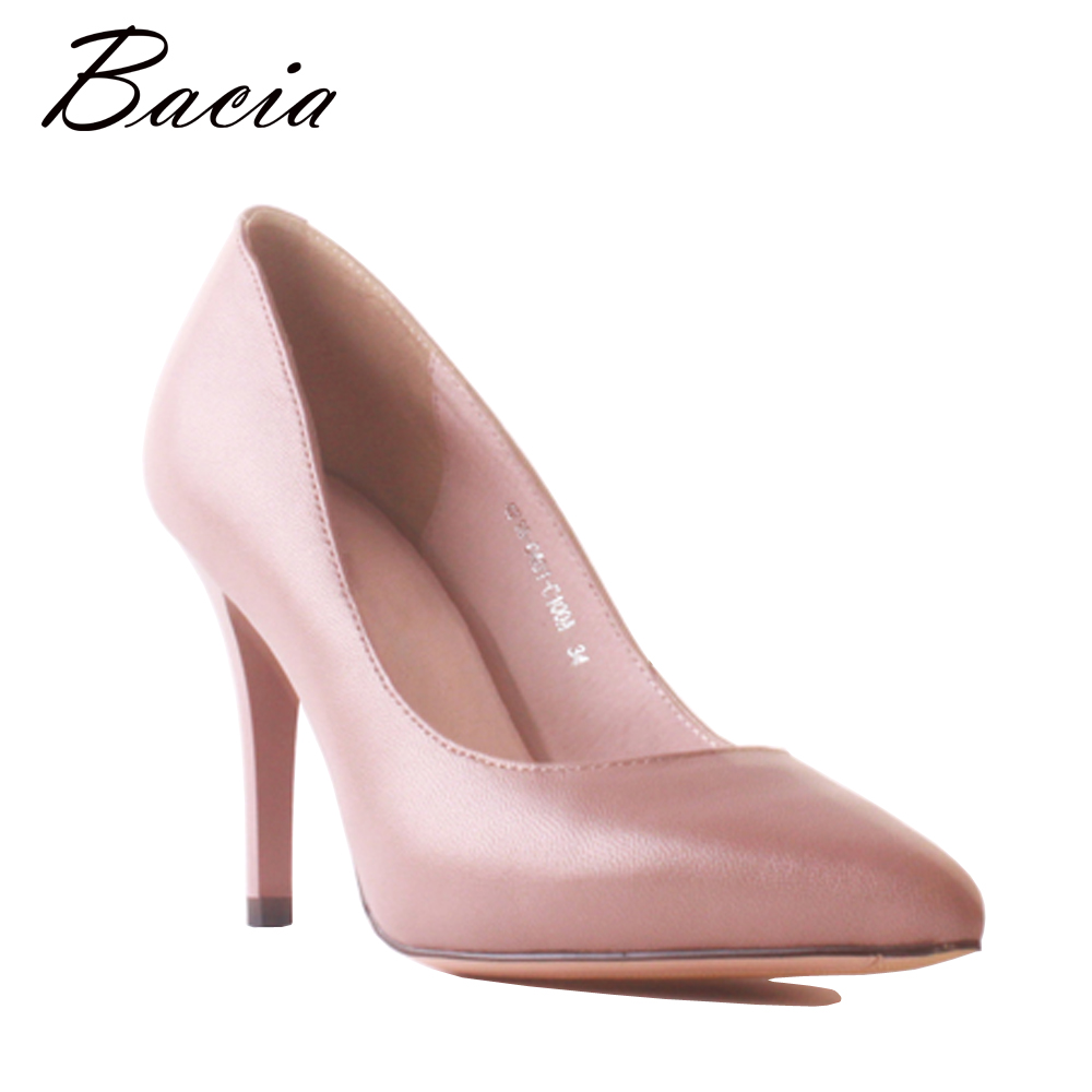 Bacia Genuine Leather Sheepskin Shoes Women 9cm High Heels Ladies Pink Wedding Shoes Elegant Pointed Toe Thin Heel Pumps MB039 foreada women shoes pumps genuine leather thin high heels elegant ladies office shoes 2018 bow knot pointed toe shoes female
