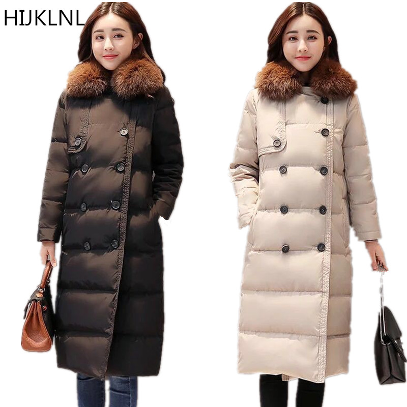 2019 Winter New Women's   Down   Jacket Thick Fox Big Fur Collar Long Section 100% White Duck   Down   Thick Thin Warm   Coat   TQ373