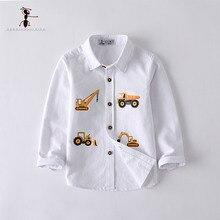Camisas casuales de algodón textil Oxford para niños de Kung Fu, camisas blancas con Bolsillos y cuello vuelto, ropa para niños, coche estampado