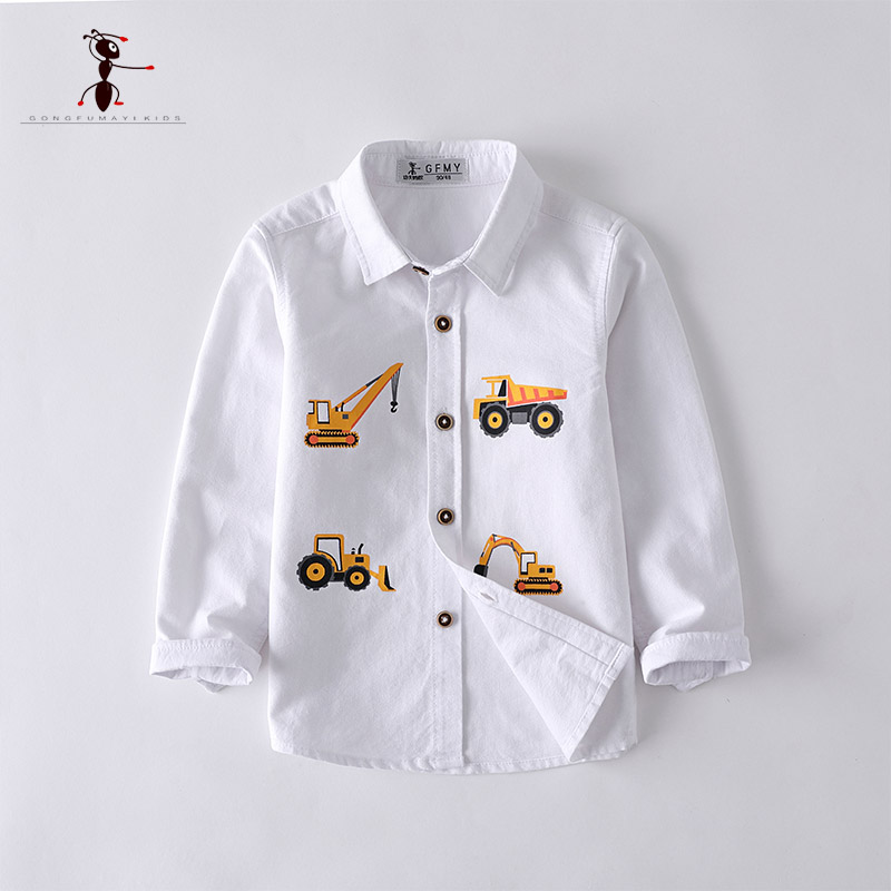 Kung Fu Ant Casual Boys Shirts Oxford Textile Cotton White Shirts Pockets Turn-down Collar Children's Clothing Printing Car
