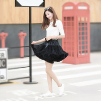 Design de moda Doce Meninas TUTU Saias Das Mulheres Black White Tulle Metade Desliza Grande Saia Swing Feminino Encantador vestido de Baile Camisas
