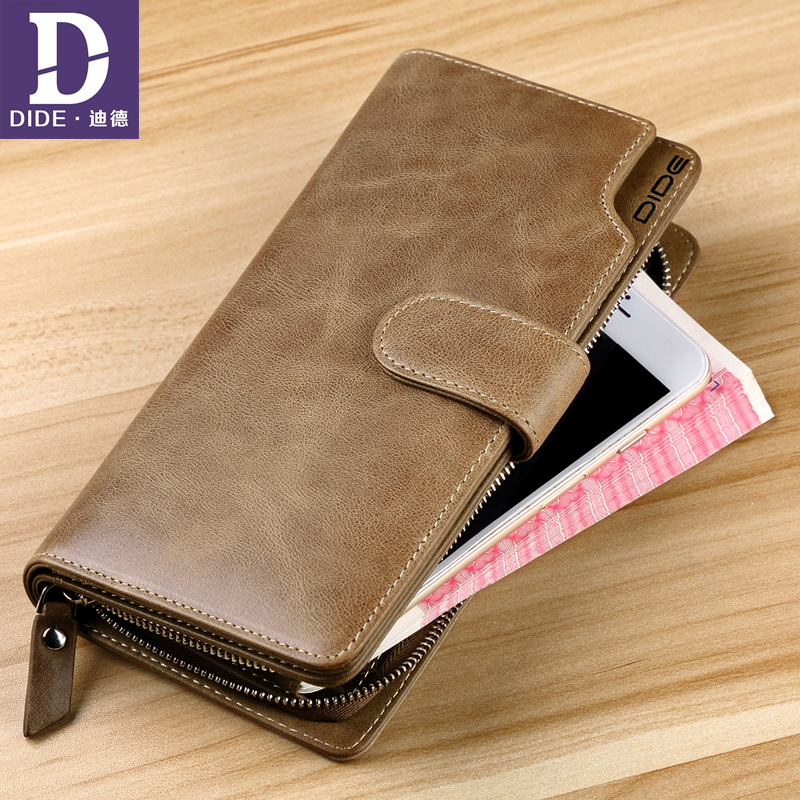 DIDE Male Wallet Travel Purses Card-Holder Coin Long Clutch Business Double-Zipper Genuine-Leather