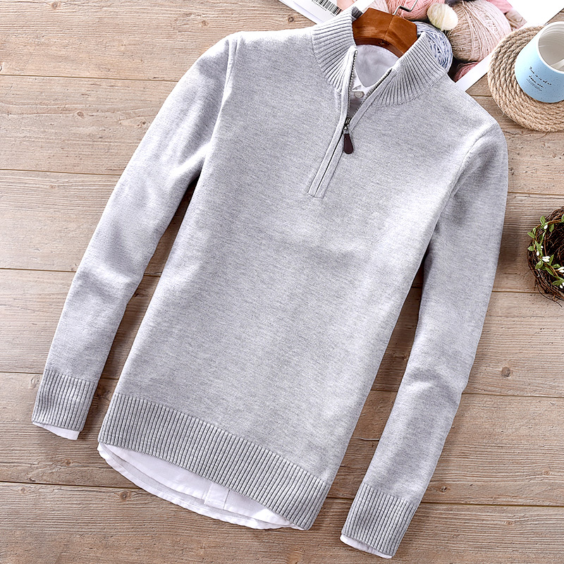 2018 Autumn And Winter New Men's Cotton Sweater Casual Stand Collar Half Zipper Slim Sweaters Men Solid Fashion Maglione Trui