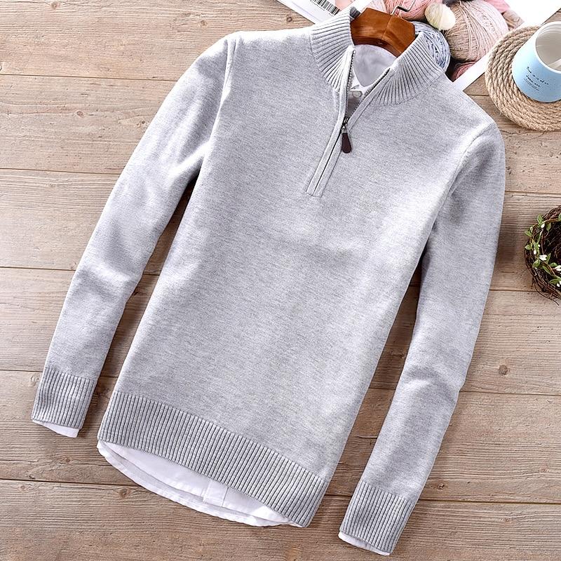 2018 Autumn And Winter New Men's Cotton Sweater Casual Stand Collar Half Zipper Slim Sweaters Men Solid Fashion Maglione Trui