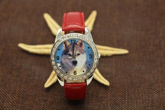 Hot Sale Fashion Popular Boy Wolf Dog Watch Leather Strap Analog Wristwatch Free