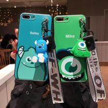IMIDO Cartoon Anti-fall Lanyard Phone Case TPU Soft Silicone For iphone 6/7/8/X Lovely Monsters Mike Sulley Cover