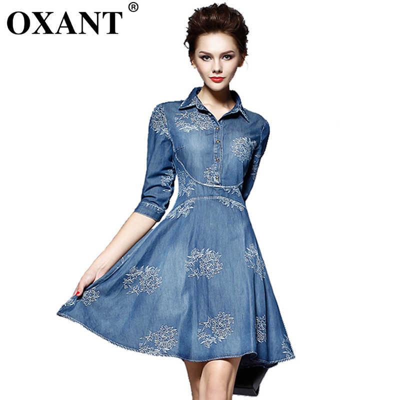 b91243a4bf2ffa6 Подробнее Обратная связь Вопросы о OXANT Летний стиль поставить на большой  долго вышитые Для женщин платье из джинсовой ткани Винтаж Половина рукавом  Slim ...