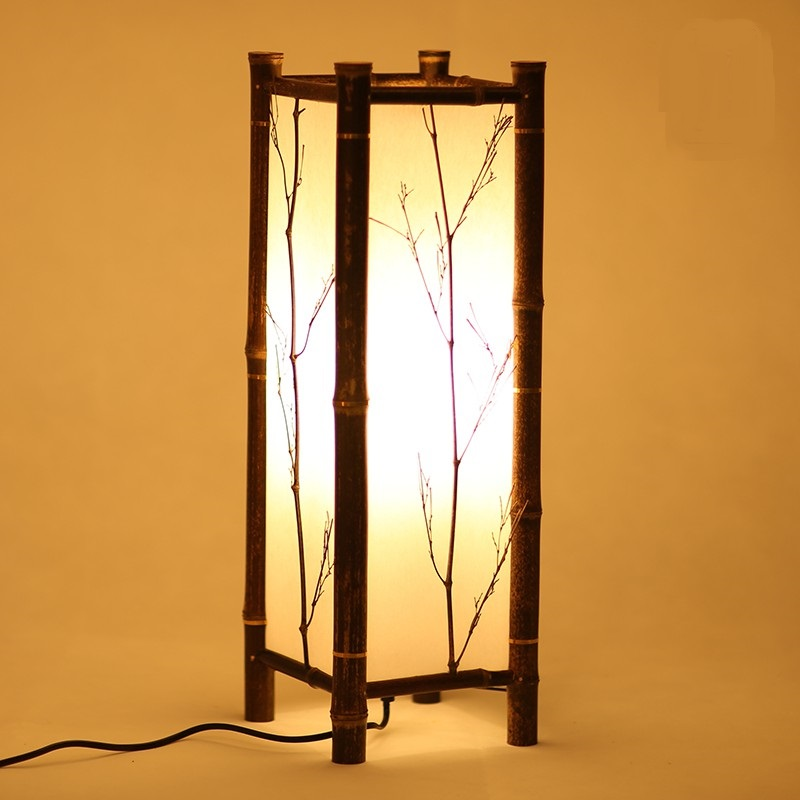 wionwner bamboo lamp and floor lamps dining room bedroom table lamp Japanese tatami bamboo chinese style decoration lamp ZH dia 56cm creative wooden chinese style dining room chandeliers black or natural bamboo japanese southeast asia pendant lamps