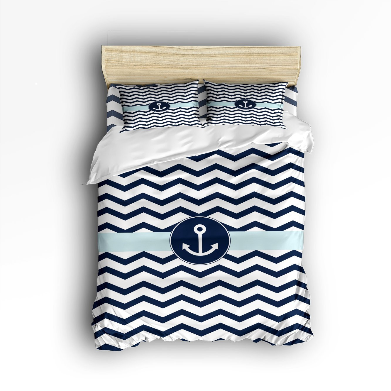 Queen Size Bedding Set Navy Blue Chevron With Nautical
