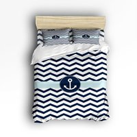 Queen Size Bedding Set Navy Blue Chevron with Nautical Anchor Duvet Cover Set Bedspread for Children/Kids/Teens/Adults, 4 Piece