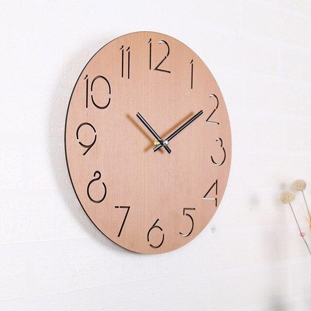 Kreative Digitale Wanduhr Einfache Moderne Design Nordic Kurze Für  Wohnzimmer Uhr Holz Wanduhren Wohnkultur Stille 12