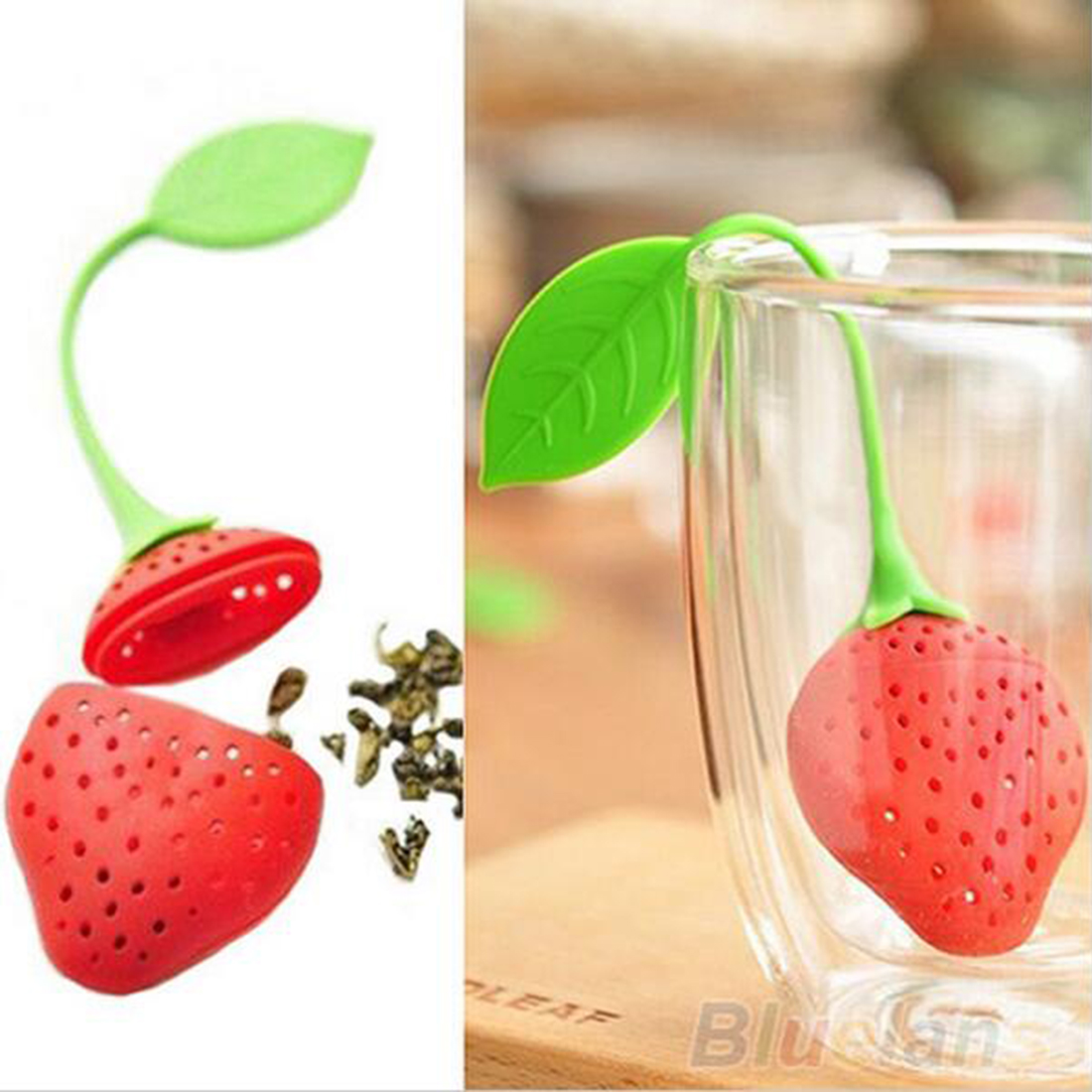 Hot sale 1Pc Reuseable Food safe Silicone Red Strawberry Shape Tea Leaf Bag Holder Tea Coffee Punch Filter Tea Infuser