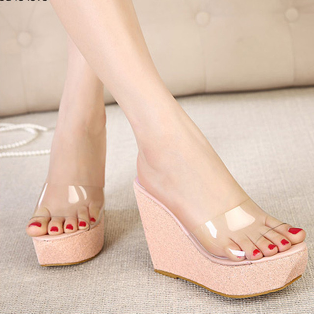 Transparent Platform Sandals Waterproof Wedge Sandals Summer Women Rhinestones Slippers