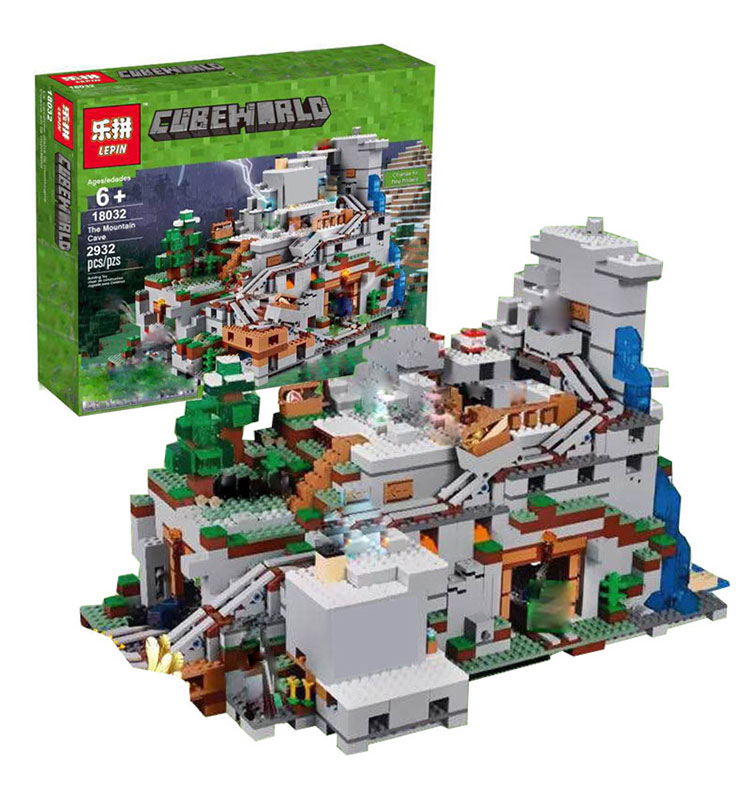 LEPIN 18032 Model Building Kit Blocks Bricks Miniecraft 2932pcs The Mountain Cave My worlds Compatible with legoingly 21137 dhl lepin 18032 2932 pcs the mountain cave my worlds model building kit blocks bricks children toys clone21137 in stock
