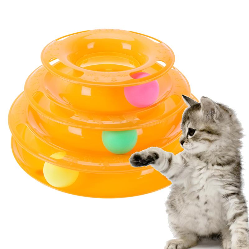 Pet Toys Cat Crazy Ball Disk Interactive Amusement Plate Play Disc Intelligence Toy Three Tower Tracks Turntable Ball Cat Toy