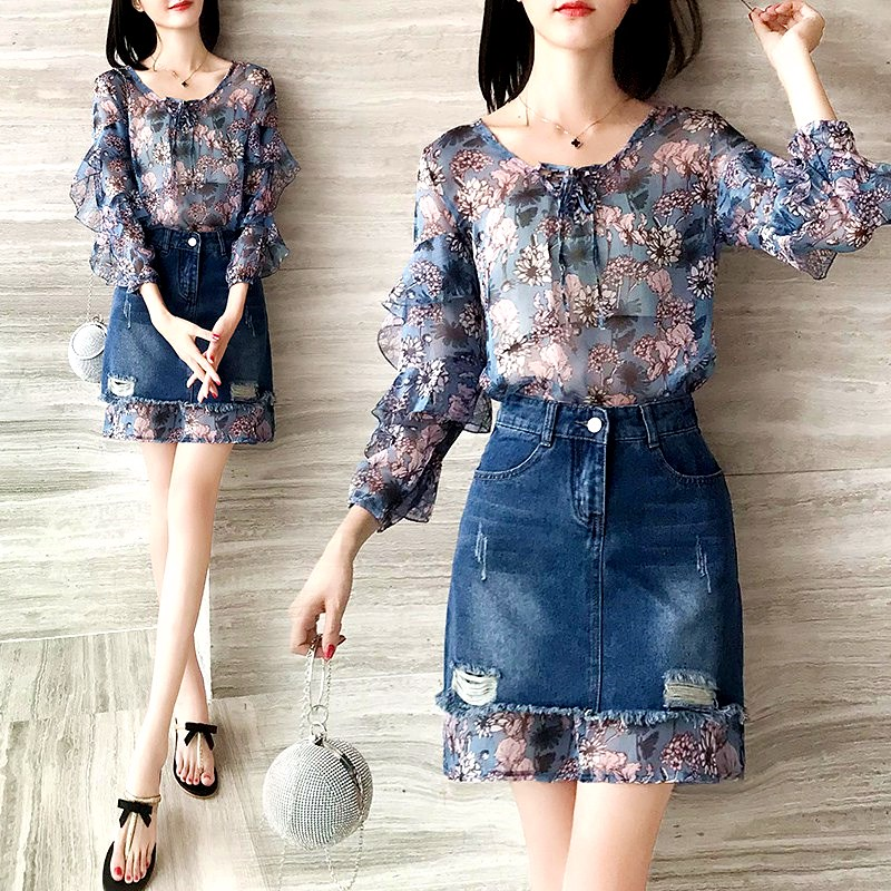 Women Summer Spring Ruffles Sleeve V Neck Lace-up Collar Long Floral Printed Blouses Tops And Denim Skirt Suit Sets CC072