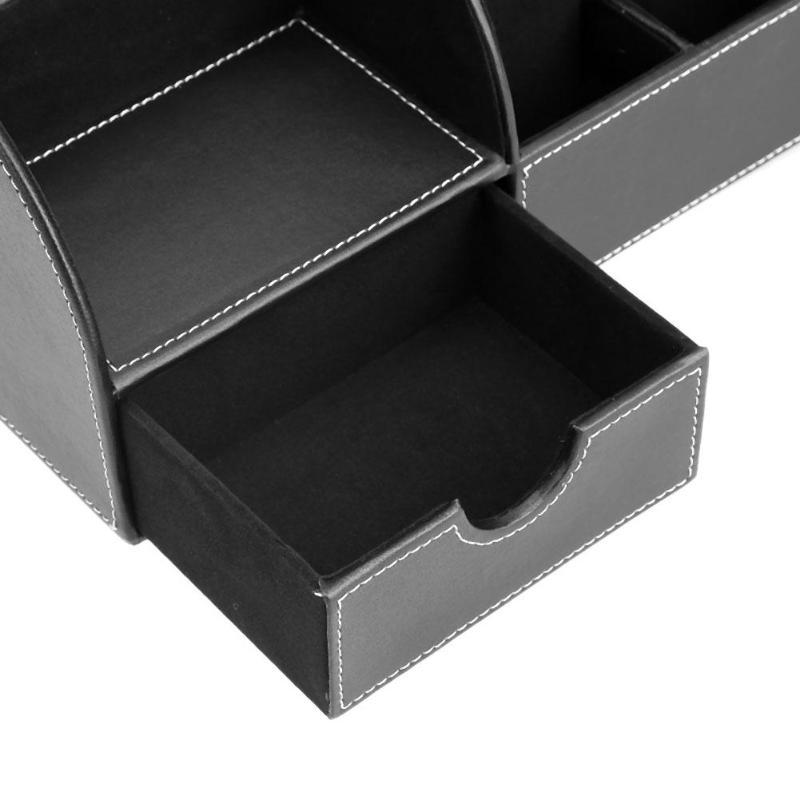 Luxury PU Leather Creative Makeup Organizer Desktop Remote Control Card Storage Holder Box Bins Phone Cosmetic Jewelry Office