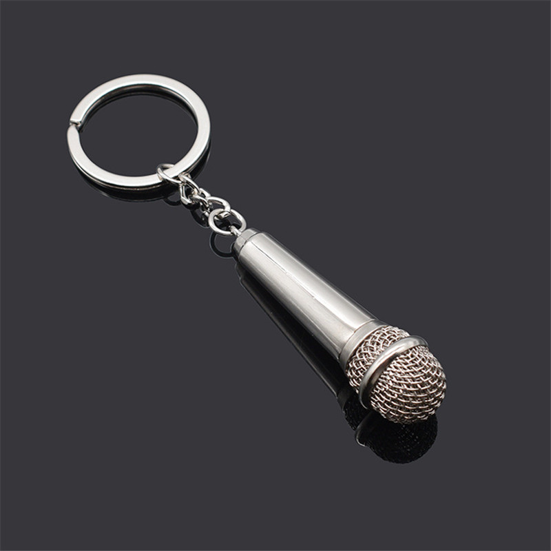 High Quality 2019 New Metal Keychain Creative Music Gifts Key Chain Key Ring Microphone Keychain Fashion Key Chain Creative