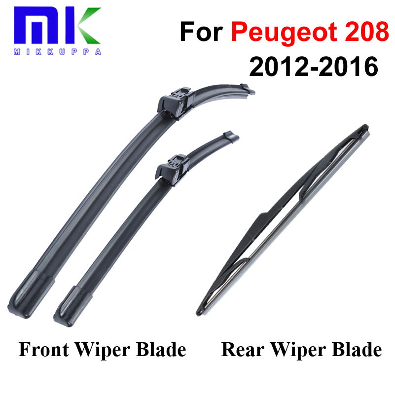 Group Rubber Front And Rear Wiper Blades For Peugeot 208 2012 Onwards Windscreen Wipers Car Accessories