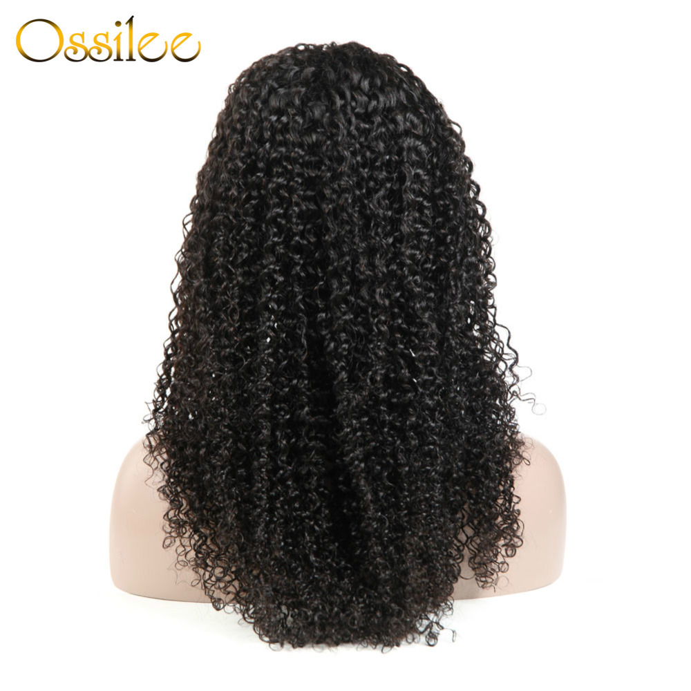 Ossilee Brazilian Human Hair Wig Kinky Curly Lace Closure Wigs 150% Density Natural Hair Line For Black Women Remy Hair