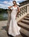 Dreagel New Arrival Hot Sale Robe de Mariage Lace Mermaid Wedding Dress 2017 Graceful V-neck Short Sleeves Appliques Bride Gown