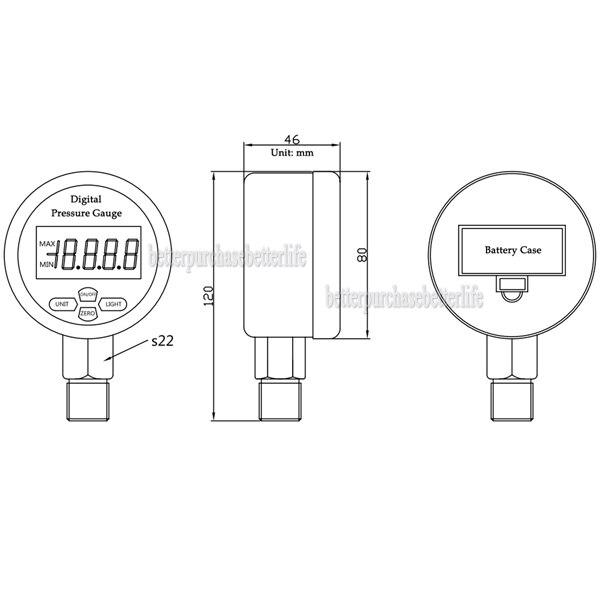 High Quality Battery Powered Metal Case Digital Pressure Gauge Manometer, 0-60Mpa NPT1/4 0.25% 3 Units