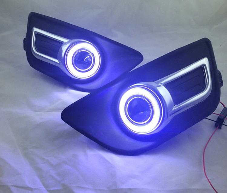 eOsuns инновационные cob ангел глаз светодиодные фары дневного света DRL + галогеновые Противотуманные фары + объектив проектора для Ситроен с-Катр 2008-11