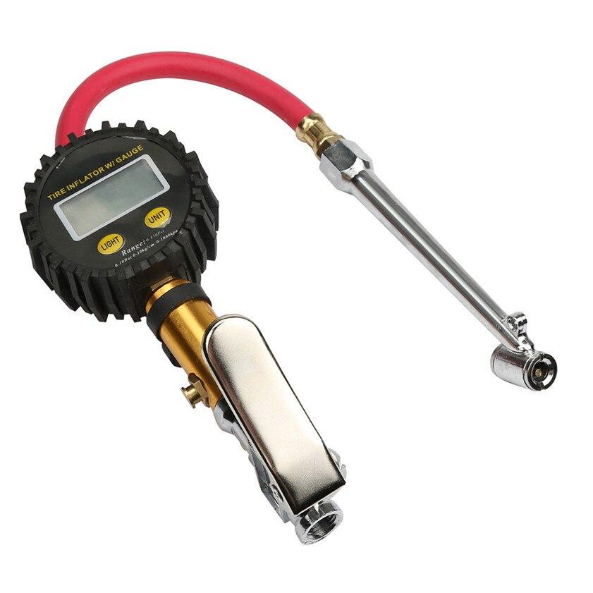 Prix pour 017 Nouvelle voiture de coiffure 220PSI Auto Voiture Vélo Tire Gauge Pressure Meter Air Gonfleur Flexible Tuyau