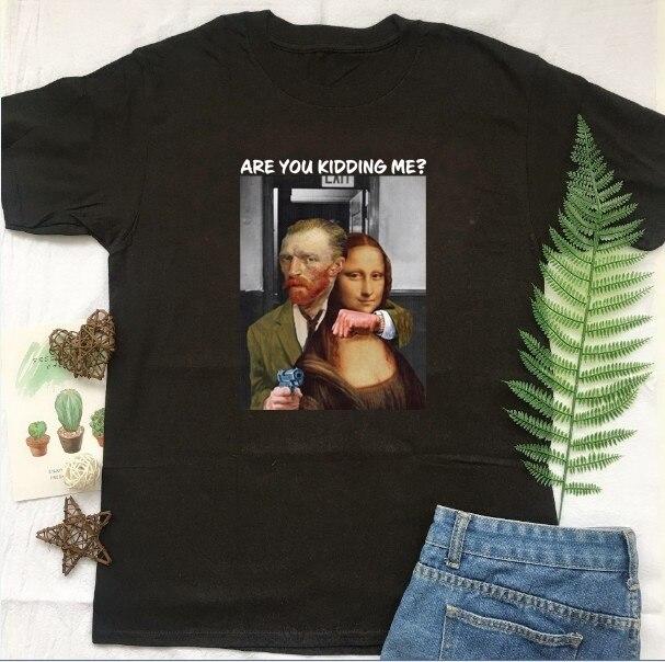 Fashionshow-JF Você Está Brincando Comigo Monalis-T-shirt Pintura Arte Abstrata Pintura Da Vinci Mona Lisa Camisa Estética tees