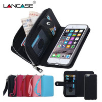 Multi Function Zip Wallet Mobile Phone Bags For IPhone 5 5S Fold 2 In 1 Magnetic