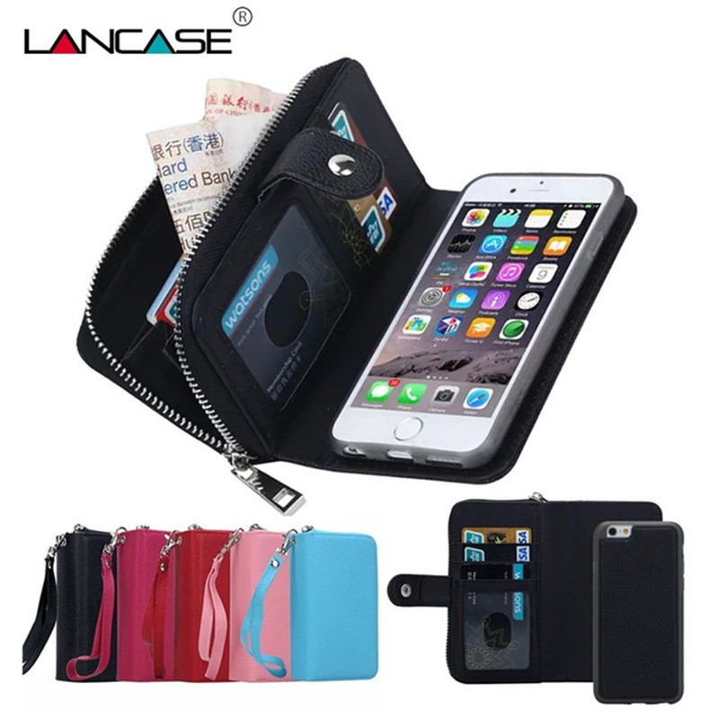 For iPhone 5S Case Magnetic 2 in 1 Zip Wallet Detachable Phone Bags Cover For iPhone