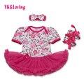 Детские Девушки Платье Розы С Коротким Рукавом с Бантом Повязка для 0-2 Лет Дети Младенческой Ребенка Девушки Комплект одежды